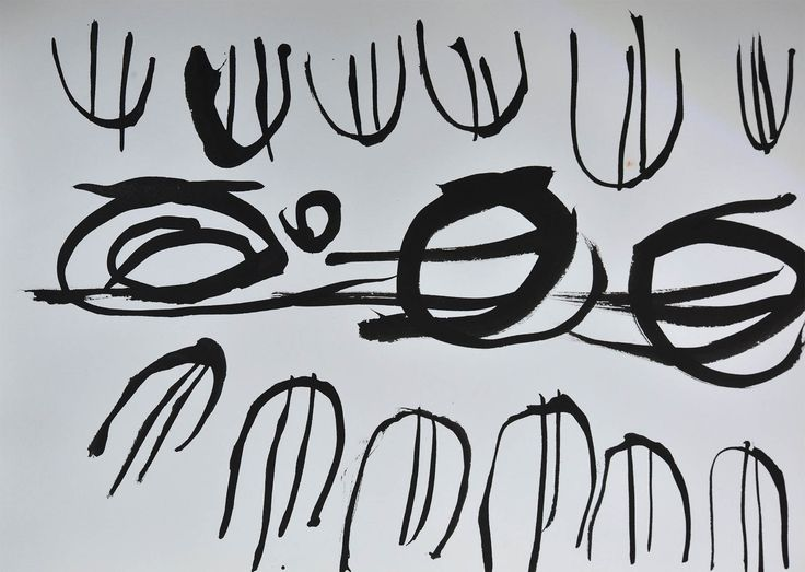Jenny MIKESELL, calligraphic ink drawing on paper