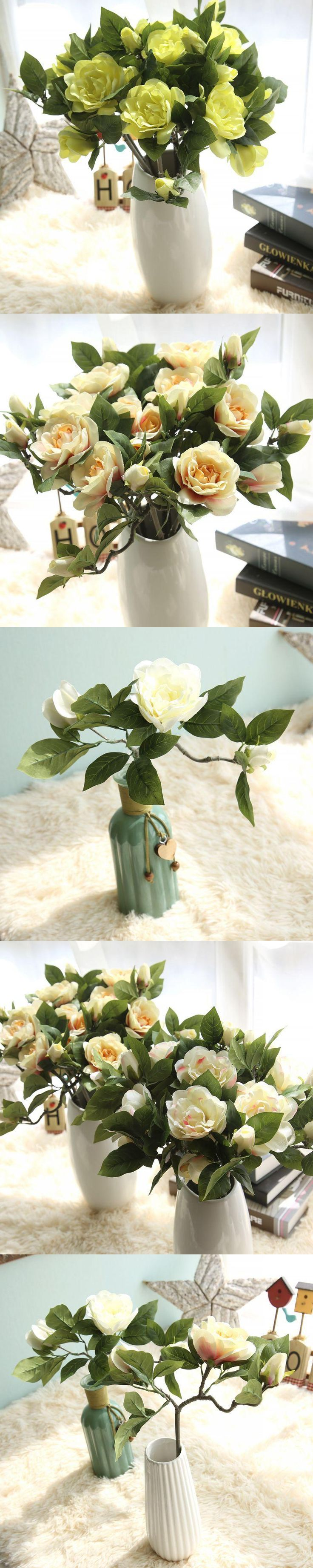 1 Branch Artificial Gardenias Flowers For Home Wedding Decoration Cheap Artificial Flower For Decoration Silk Flowers Gardenia