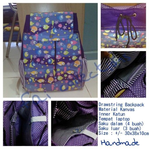 Drawstring Backpack made by Tanti FAI Collections