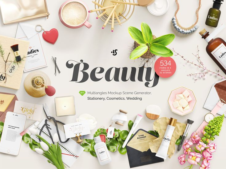 Free Girly Stationery Mockup Set of three awesome mockups in 3 angles from our Beauty Mockup Scene Generator. You can change compositions by just moving items or change colors of each item #mockup #freebies #design #stationery #cosmetics #wedding