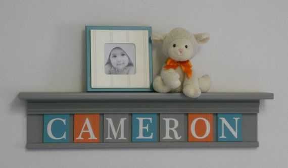 Teal Gray and Orange Shelves Customized for by NelsonsGifts