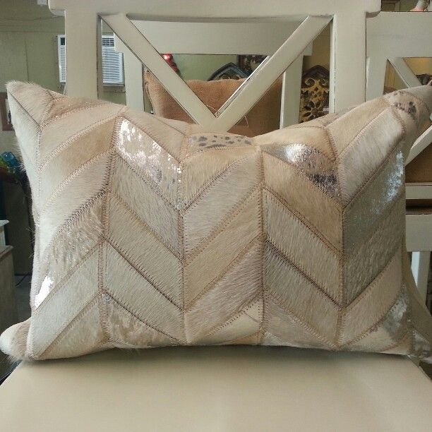 Chevron white silver metallic cowhide pillow available in for Cowhide rug houston