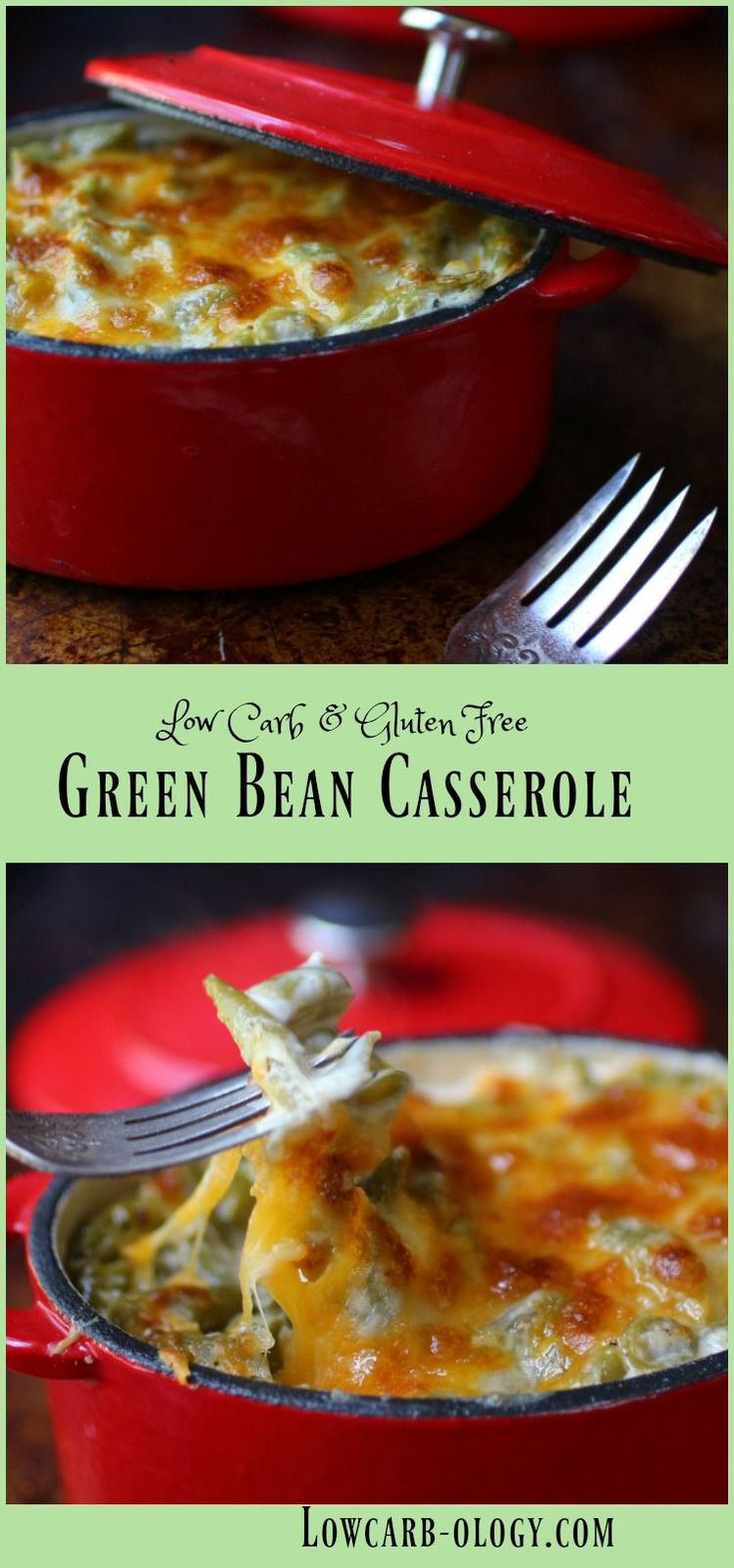 Decadent & creamy, this low carb green bean casserole is a scrumptious side dish. From Lowcarb-ology.com