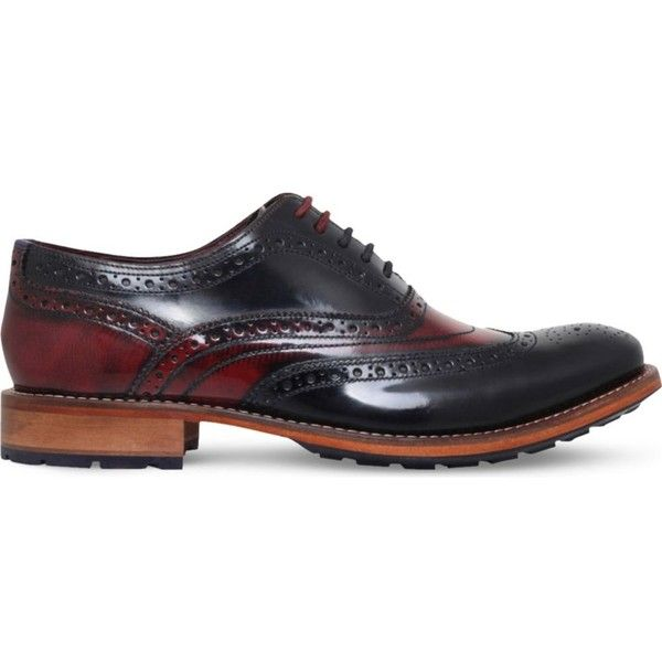 TED BAKER Krelly2 patent-leather Oxford brogues ($175) ❤ liked on Polyvore featuring men's fashion, men's shoes, men's oxfords, mens lace up shoes, ted baker mens shoes, mens wing tip shoes, mens wingtip shoes and mens patent shoes