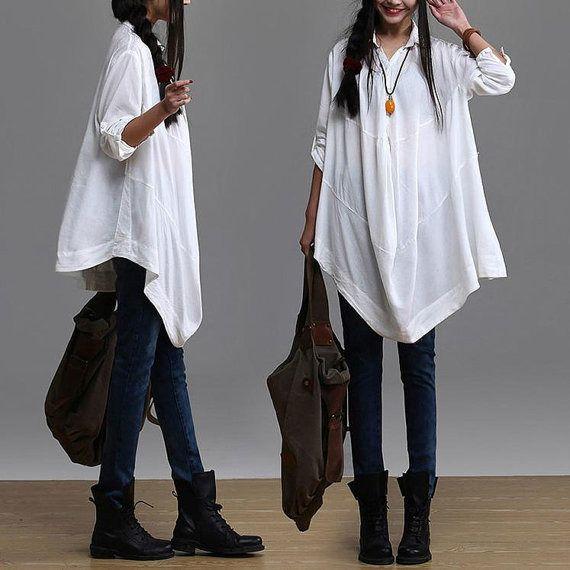 Irregular white long-sleeved casual shirt / loose cotton shirt : Chemises, blouses par dreamyil