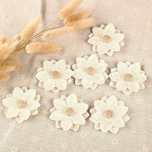 10 X Jute Blumen Hessische Jute Hochzeit Rustikal Nähen Handwerk - Creme