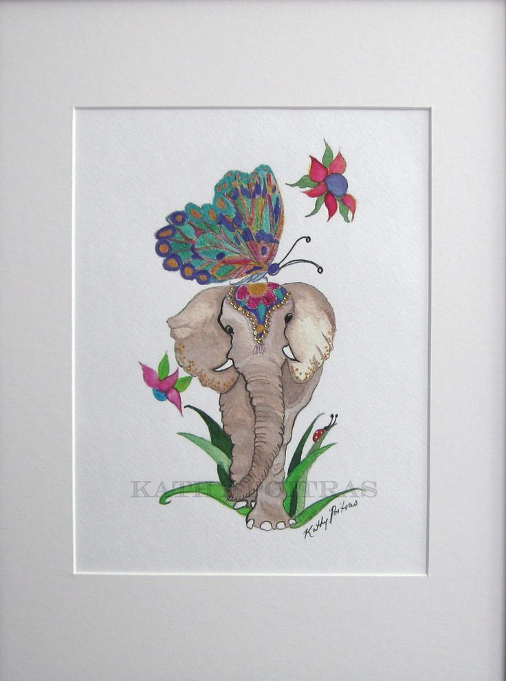 one of a kind, Elephant and Butterfly hand embellished print on watercolor paper.