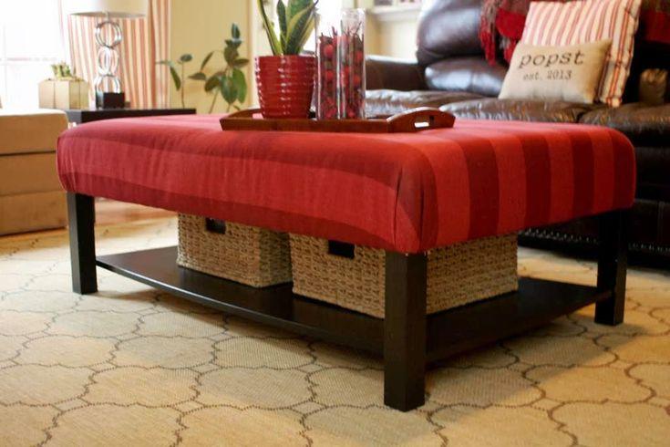 Best 25 upholstered ottoman ideas on pinterest diy ottoman diy furniture reupholstery and - Ikea hack storage ottoman ...