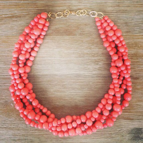 The Prettiest Coral Statement Necklace by icravejewels on Etsy  Would love this in another color.