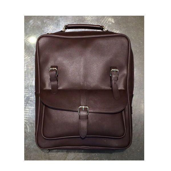 Korea New Men Women Rusi Backpack School Travel Business Bag Faux Leather Brown