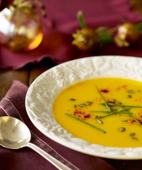 For an extra smooth soup, roast the butternut squash until it's fork-tender and then add it to a pot with broth. Later, top with roasted pumpkin seeds to give the cozy dish some crunch. Get the recipe for Squash Soup with Cumin »