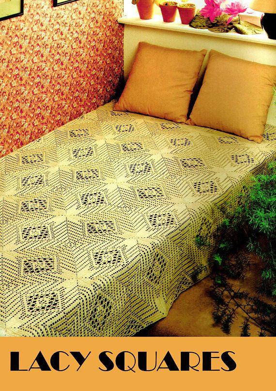 PDF Vintage 1970s Elegant RUSTIC Squares Bedspread Crochet