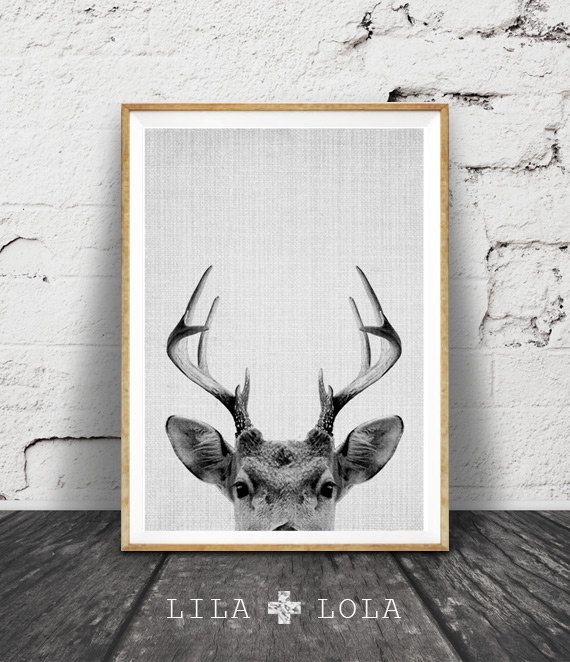 Deer Print, Deer Antlers, Woodlands Decor, Wilderness Wall Art, Nursery Black and White, Animal Print, Printable Art, Kids Room Art