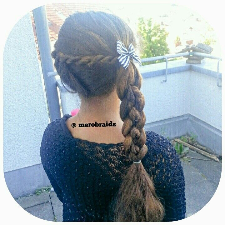Robe twist into a side ponytail and 4strand braid