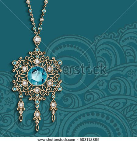 Vintage gold jewelry pendant with diamonds and emerald gemstones, antique jewellery womens decoration, elegant greeting card or invitation template, vector eps10