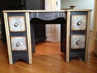 Decoupaged World Map Desk Makeover By PattiPodge - Featured On Furniture Flippin'