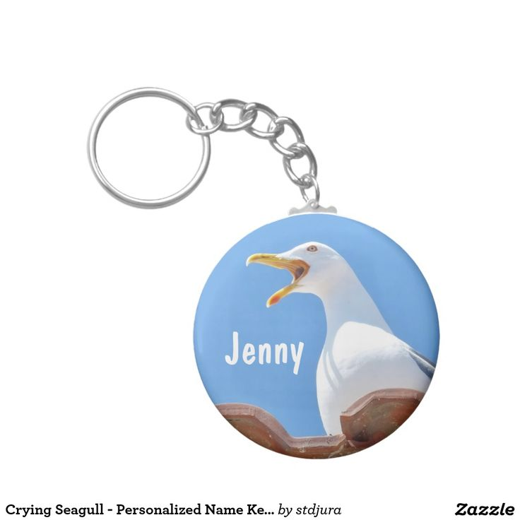 Crying Seagull - Personalised Name Keychain