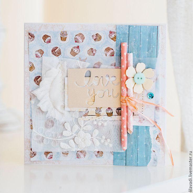 Купить Открытка LOVE you - голубой, кекс, открытка, открытка скрапбукинг, открытка для любимого, для любимой