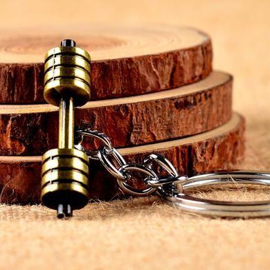 dumbbell Barbell jóias Corrente Chaveiros Para Homens Mulheres