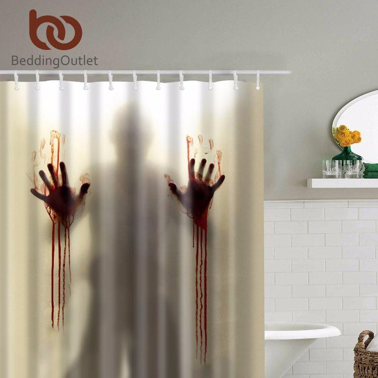 Beautiful BeddingOutlet Scary Schrecklichen Zombie Mann mit blutige H nde Duschvorhang Wasserdicht Bad Dusche Vorh nge Dusche