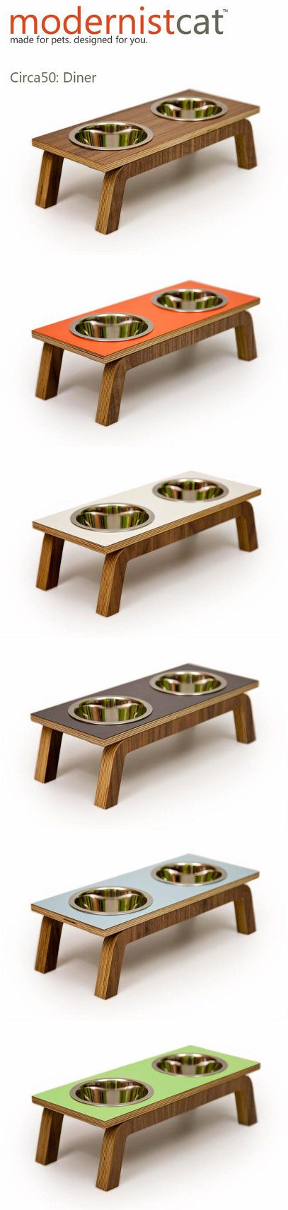 Mid Century Modern Pet Feeder // Six Retro Colors by modernistcat, $67.00