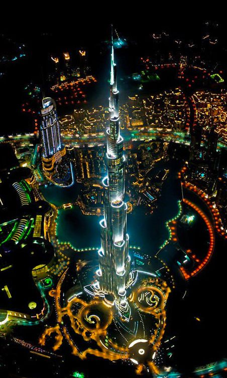 Burj Khalifa (Burj Dubai), #Dubai, #UAE, by night #Architecture #Skyscraper