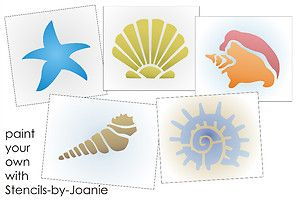 seashell stencils painting | Seashell-STENCIL-Beach-Sand-Starfish-Conch-Snail-Cone-You-Paint-4-size ...