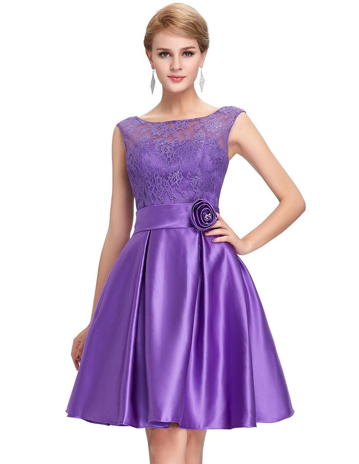 Purple cocktail dress with lace
