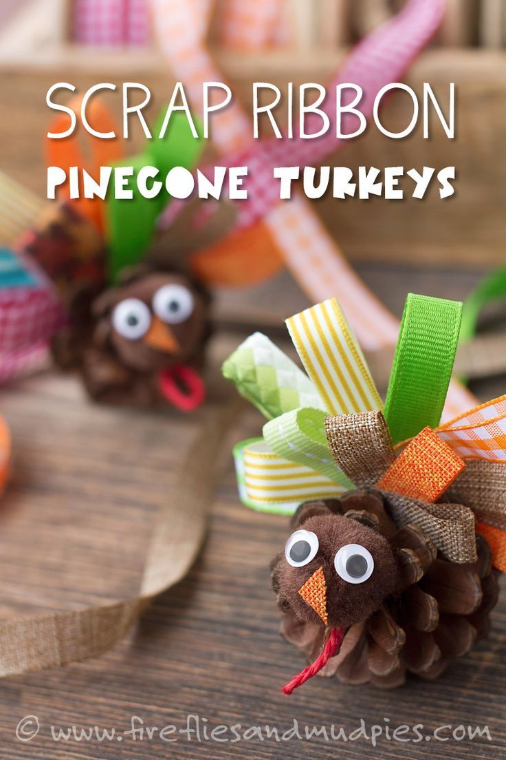 Scrap Ribbon Pinecone Turkeys: A Thanksgiving Nature Craft for Kids | Fireflies and Mud Pies