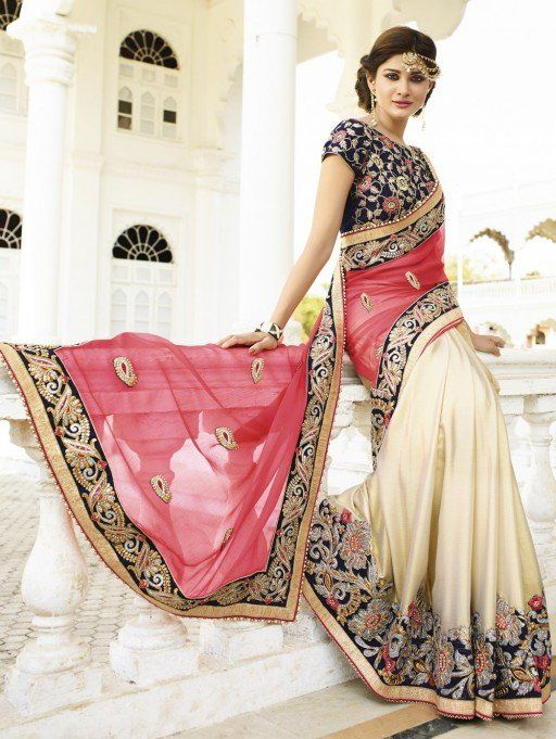 Pink and Cream Bemberg Georgette Saree with Embroidery Work