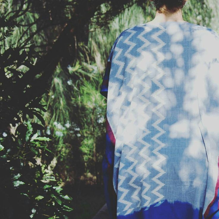 She lost herself in the trees among the ever-changing leaves. She could not live an ordinary life with the mysteries of the universe hidden in her eyes. -Christy Ann Martine  New blue ikat kaftan up on our etsy shop!