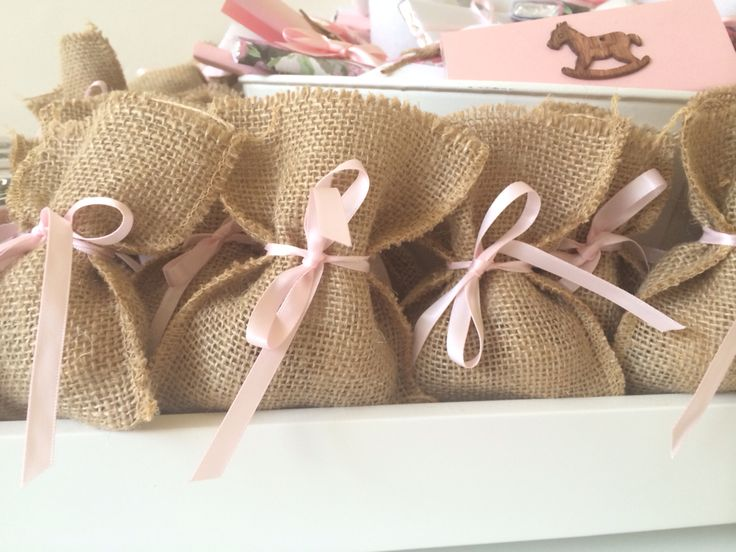 Hessian Bags- Baby Girl Favors by Sweet Soirees - www.sweet-soirees.com.au