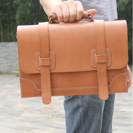 Natural Vegetable Tanned Cow Leather Briefcase Satchel Messenger Bag Case - Unisex* Made to OrderAll Hand stitched with Natural Vegetable Tanned Cow Leather.Pictures show my Excellent Wor...