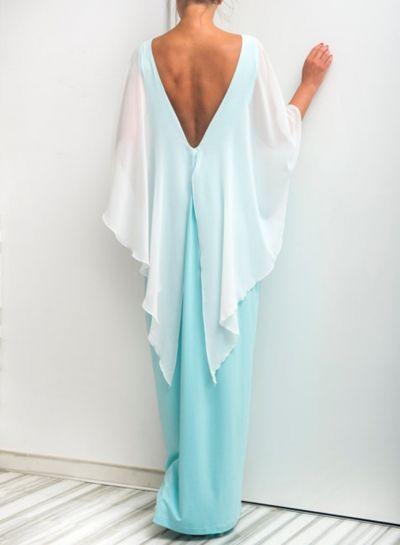 Batwing Sleeve Backless Long Prom Dress - OASAP.com