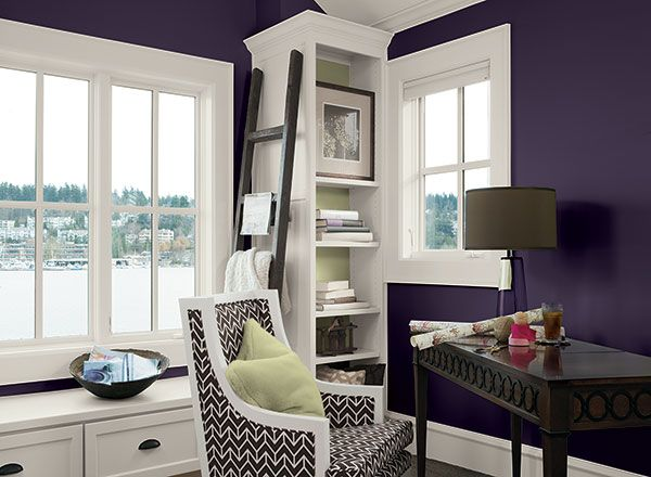 office room colors. Benjamin Moore Walls Super Nova, Bookshelf Inset And Accent Grasshopper, Ceiling Trim Simply Office Room Colors O