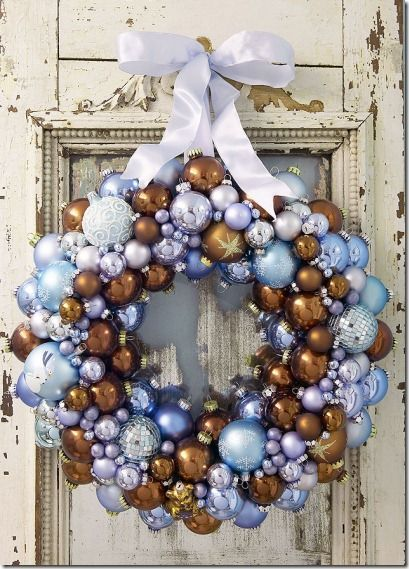 Winter wreath - brown and blue ornament wreath (no tutorial, but a nice color idea)