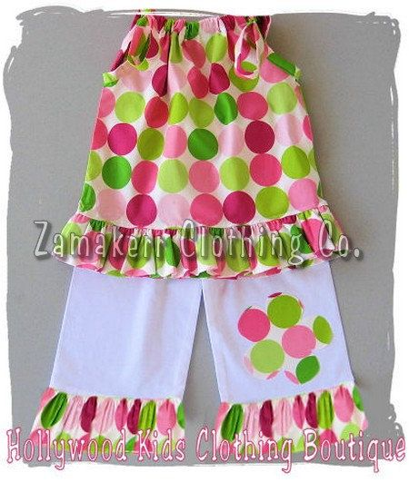 Custom Boutique Girl Clothing Polka Dot Pillowcase Top White Ruffled Pant Outfit Set 3 6 9