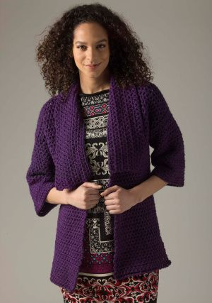 Level 1 Crocheted Cardigan  SKILL LEVEL:  Beginner (Level 1)		 SIZE: Adult (Multiple Sizes) S/M (L/1X, 2X/3X) Size K hook plus 8 sk at 3.50 oz