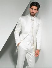 Nach Maß New Ivory Bräutigam Smoking Stehkragen Groomsmen Best Man Hochzeit Prom Anzüge (Jacke + Pants + Weste + Tie)(China (Mainland))