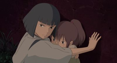 "Spirited Away - I love this gif. Look how cute Chihiro is! And look at how protective Haku is being. You can tell by the look in his eyes, it says ""don't touch her"""