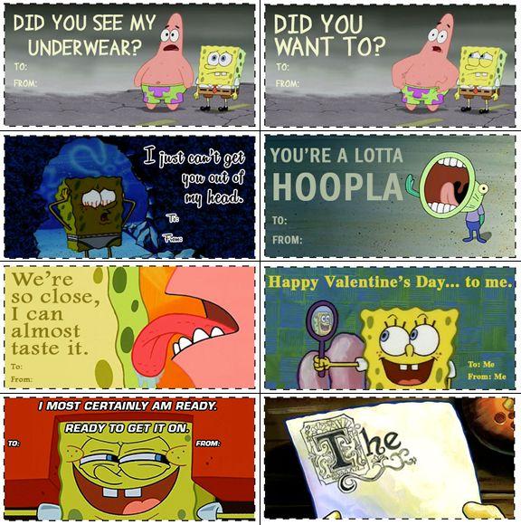 spongebob squarepants valentines day card