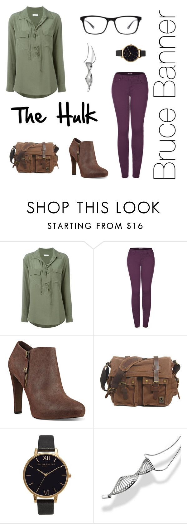 """Bruce Banner: The Hulk"" by sweetsassyandsarcastic ❤ liked on Polyvore featuring Equipment, 2LUV, Nine West, Olivia Burton, Beverly Bartlett and Joseph Marc"