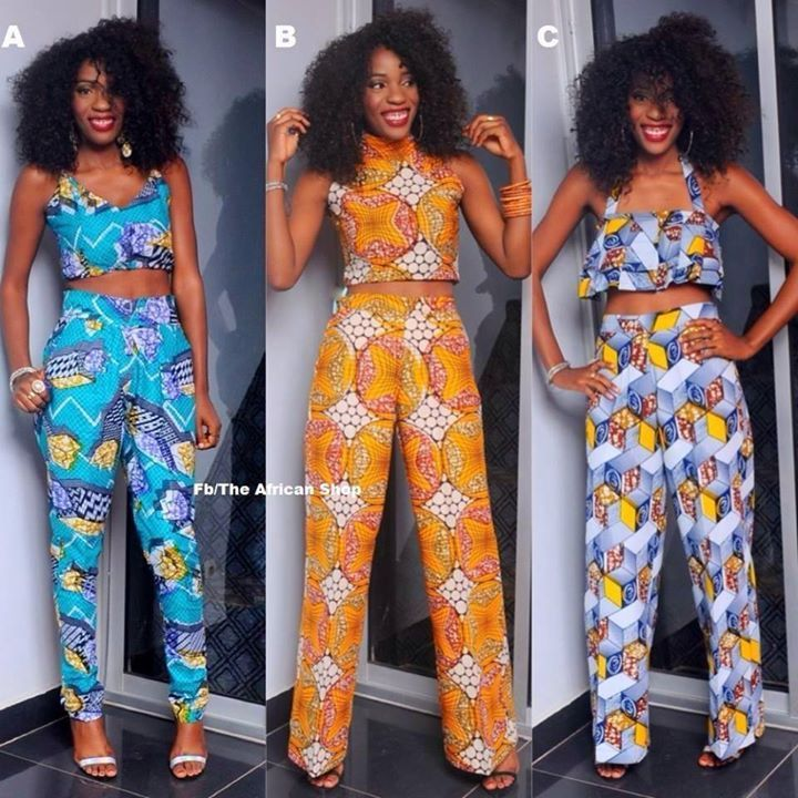 African print Crop tops & matching pants ~Latest African Fashion, African women dresses, African Prints, African clothing jackets, skirts, short dresses, African men's fashion, children's fashion, African bags, African shoes ~DKK