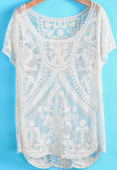 Apricot Short Sleeve Hollow Lace Blouse - Sheinside.com Mobile Site
