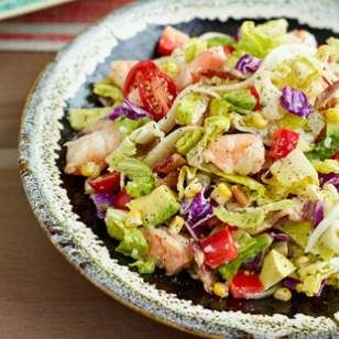 Avocado & Shrimp Chopped Salad Recipe. < 400 calories as listed but I may tweak the dressing to replace the sour cream with lime juice.