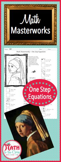 Fun one step equation drawing activity for math students in 6th, 7th, 8th, 9th and 10th grade! Add an extra challenge by having students color in the final picture! The historic Girl with a Pearl Earring is an exciting art history lesson as well as a math lesson!
