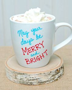 cute holiday mugs with sharpie. color your mug and bake to 350 degrees F. Bake for 30 min.