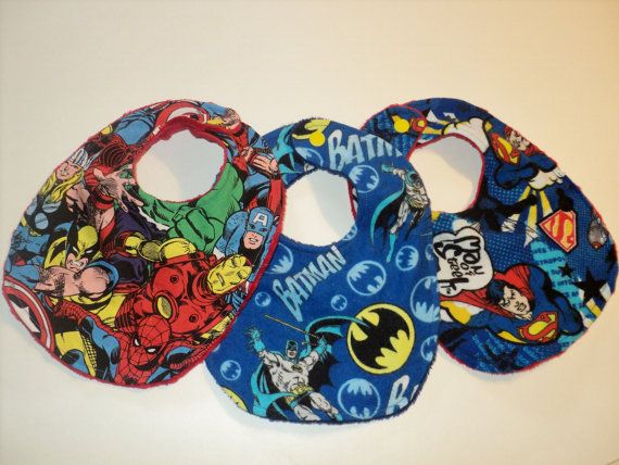 Superhero Baby Bibs -  Set Of Three Minky Newborn Bibs -  Superman, Batman, Marvel Comics Baby Bibs, Superhero Baby Shower