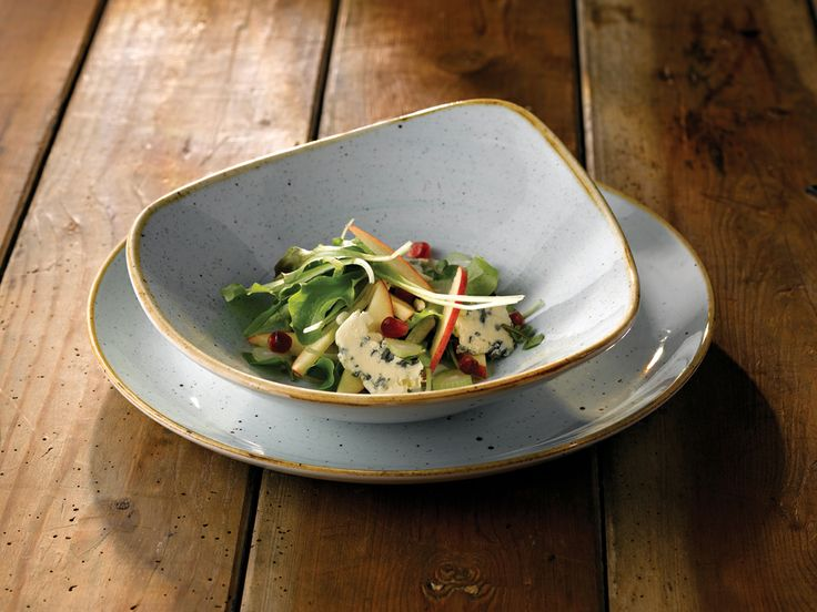 Contemporary Shape With Rustic Finish These Stonecast Triangular Bowls Are Complemented By The Coupe & Contemporary Tableware Uk \u0026 Jamie Oliver Waves Set Of 6 Large 23 Cm ...