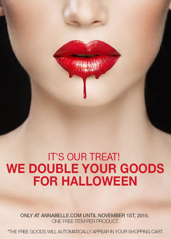 Take advantage of our #Halloween #promo! Online only at Annabelle.com  *Offer ends November 1st. // Alerte promo! Pour l'Halloween, on double vos achats! En ligne seulement sur Annabelle.com jusqu'au 1er novembre 2015. #BOGO
